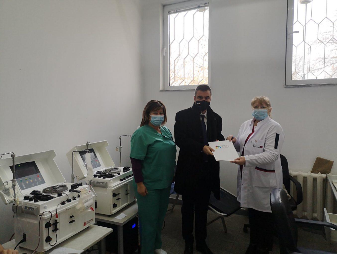 """СНЦ """"Бизнесът за Пловдив"""" дари втори чисто нов апарат за извличане на кръвна плазма"""